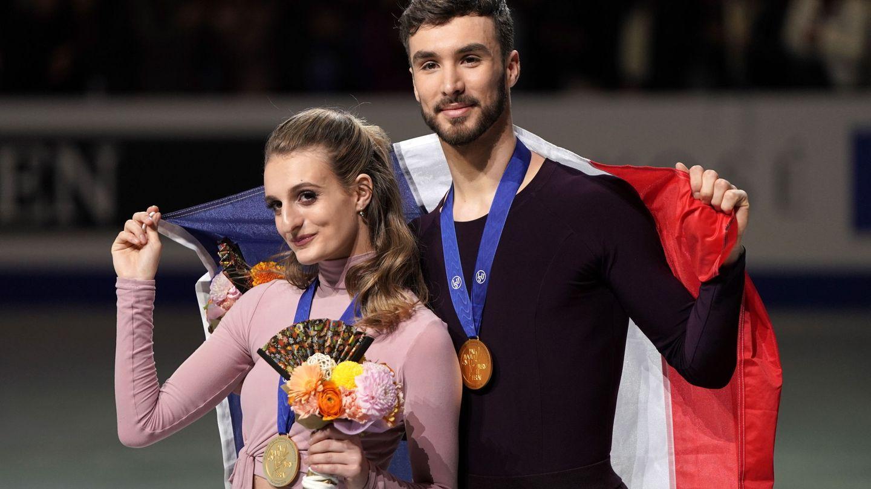 Gabriella Papadakis y Guillaume Cizeron, medalla de oro en el Campeonato del Mundo de Japón en 2019. (EFE)