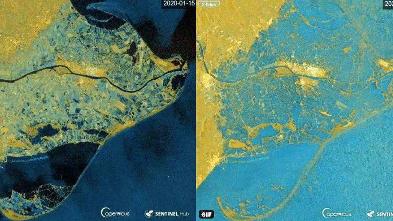 El antes y el después de la zona del delta del Ebro tras el paso de la borrasca Gloria. (Twitter)