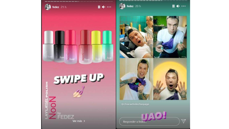 Stories de Instagram de Fedez anunciando sus esmaltes NooN.