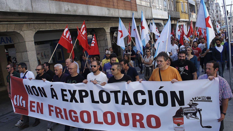 Manifestación contra Servicarne de trabajadores de Coren en Galicia. (EFE)