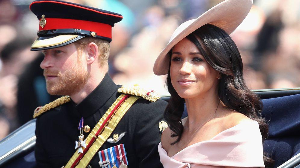 Foto: El príncipe Harry de Inglaterra y Meghan Markle en el Trooping The Colour. (Getty)