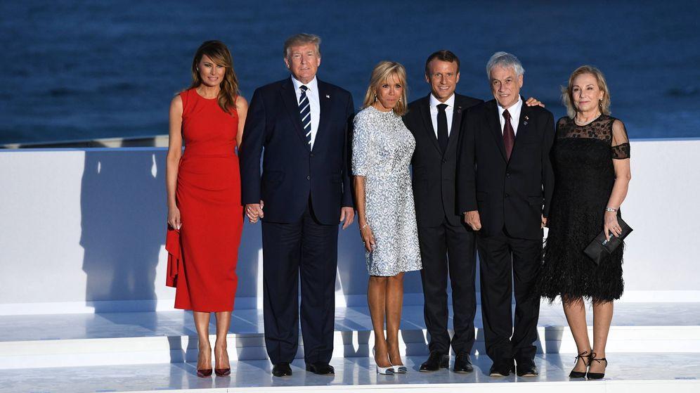 Foto: Melania Trump, Donald Trump, Brigitte Macron, Emmanuel Macron, Sebastián Piñera y Cecilia Morel. (Getty)