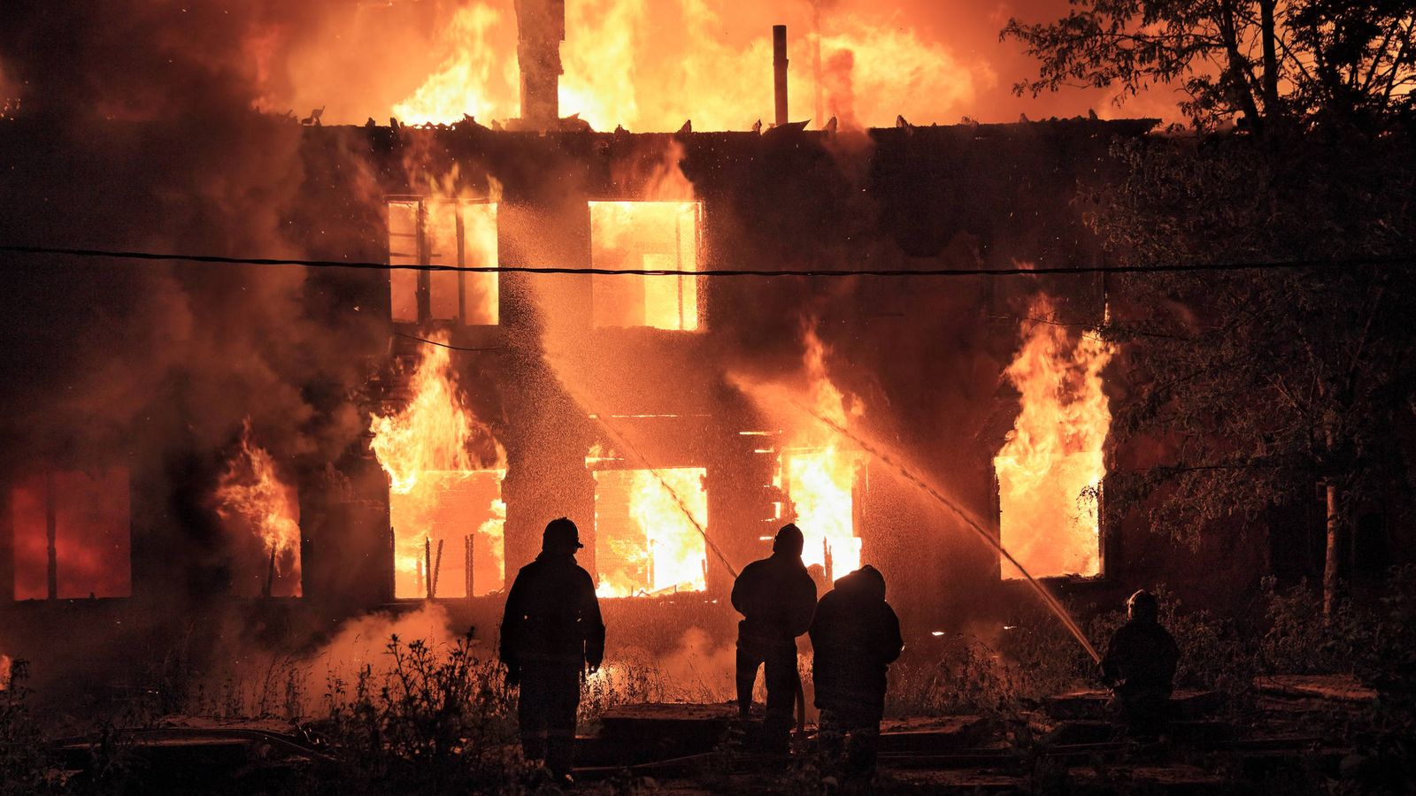 Gran incendio en Pontevedra