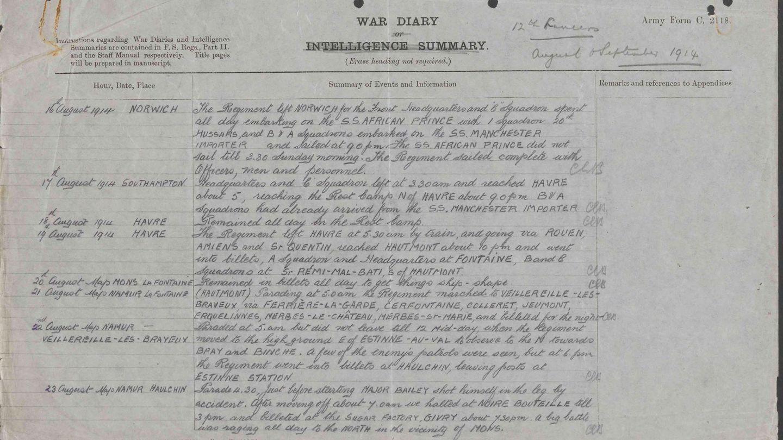 Imagen de los diarios de guerra escritos en la Primera Guerra Mundial