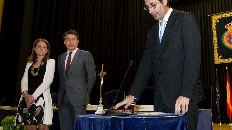 Foto: Fernando Suárez, durante su toma de posesión como rector de la URJC. (EFE)