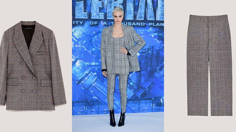 El traje de chaqueta de Cara Delevigne firmado por Alexander Wang también tiene su versión asequible.