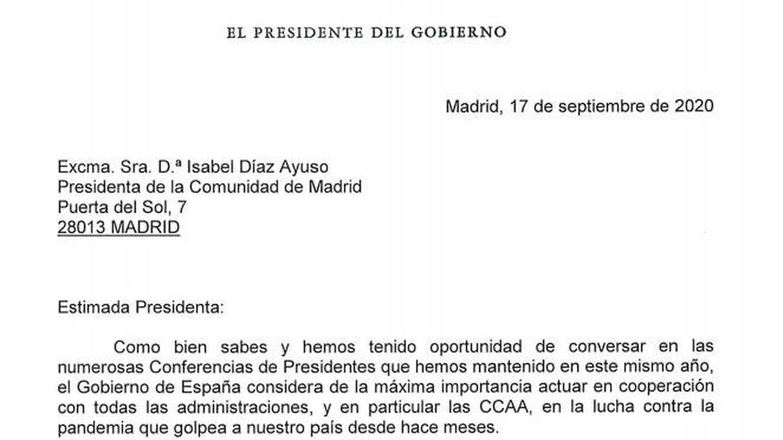 Pinche aquí para ver la carta completa de Pedro Sánchez.