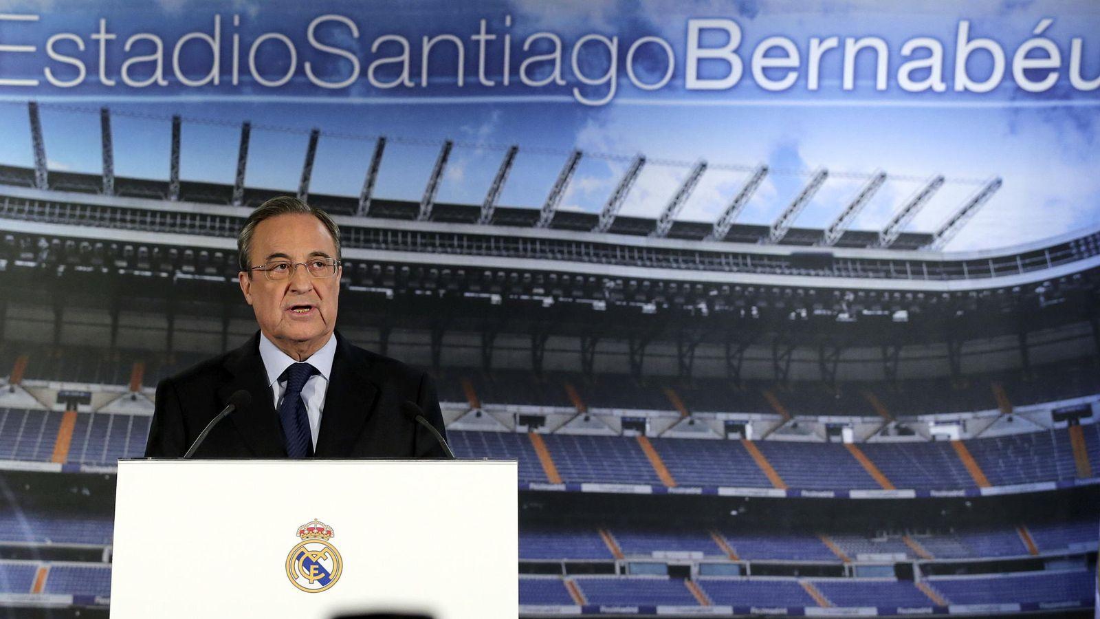 Foto: El presidente del Real Madrid, Florentino Pérez, durante la rueda de prensa. (EFE)