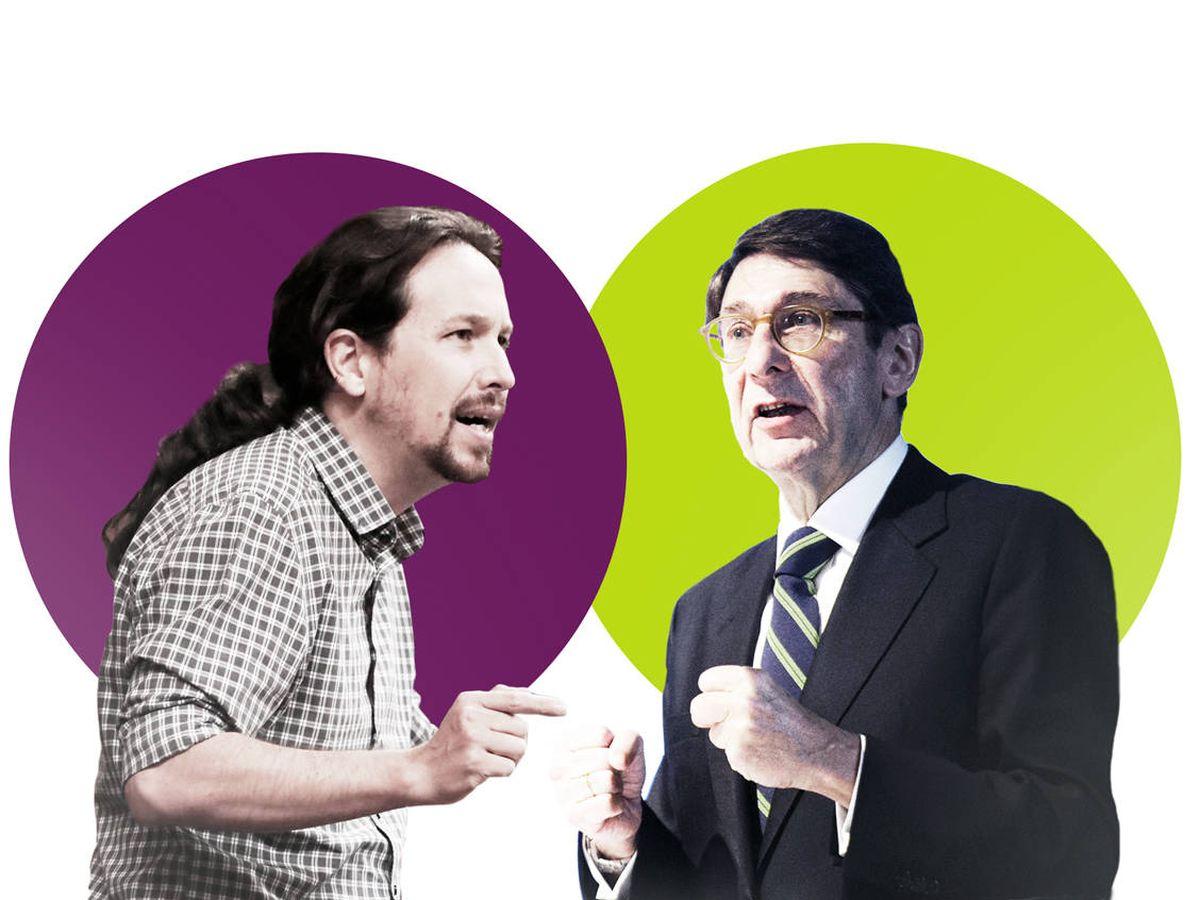 Foto: Pablo Iglesias (líder de Podemos) y José Ignacio Goirigolzarri (Presidente de Bankia). (EC)
