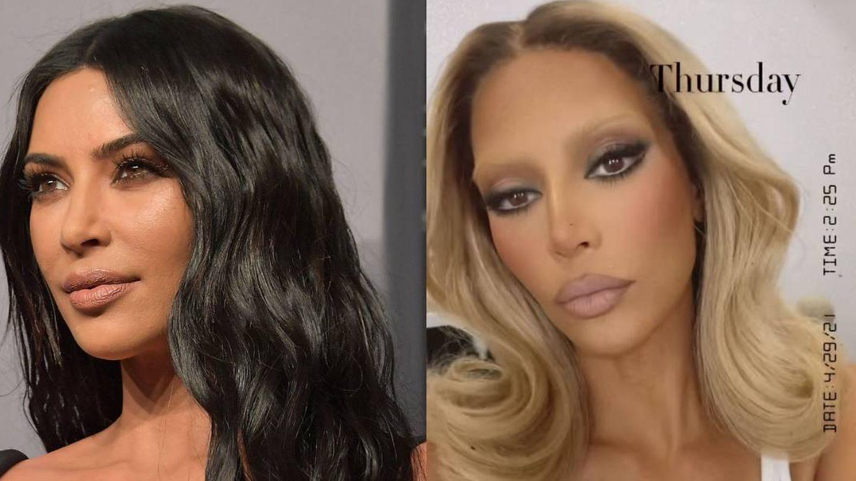 Las cejas naturales de Kim Kardashian vs.  las belached eyebrows (Getty/Instagram)