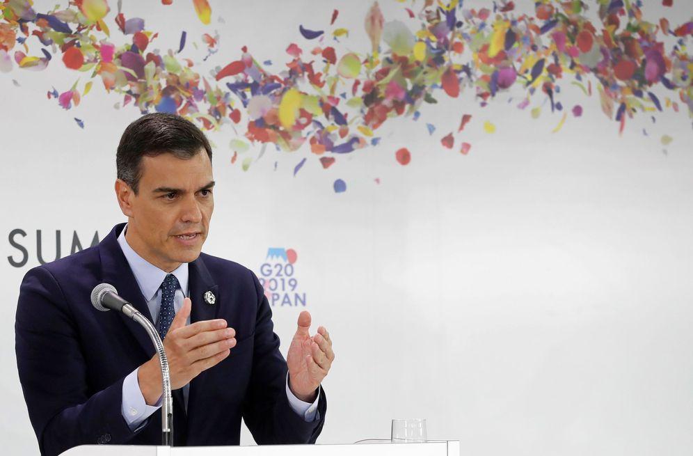 Foto: El presidente del Gobierno en funciones, Pedro Sánchez, este 29 de junio en rueda de prensa tras la cumbre del G-20 en Osaka, Japón. (EFE)
