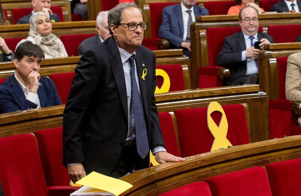 Foto: Quim Torra en la primera sesión del debate de investidura en el Parlament. (EFE)