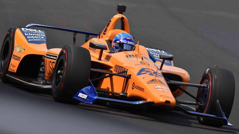 Fernando Alonso, durante la clasificación en Indianápolis. (IndyCar)