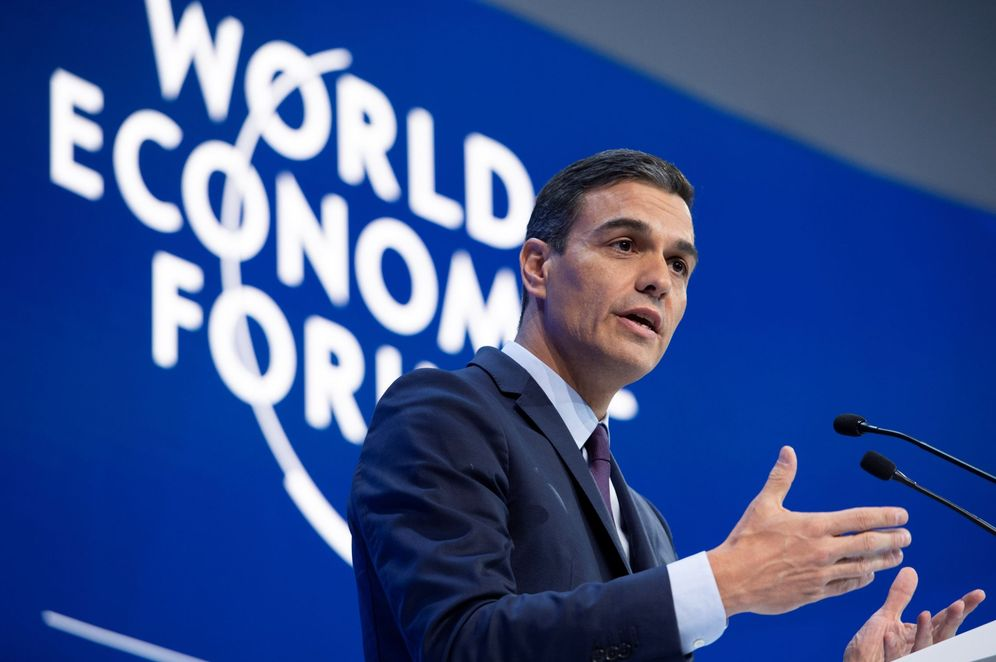 Foto: Pedro Sánchez, durante su intervención en el Foro Económico Mundial de Davos, en Suiza, este 23 de enero. (EFE)