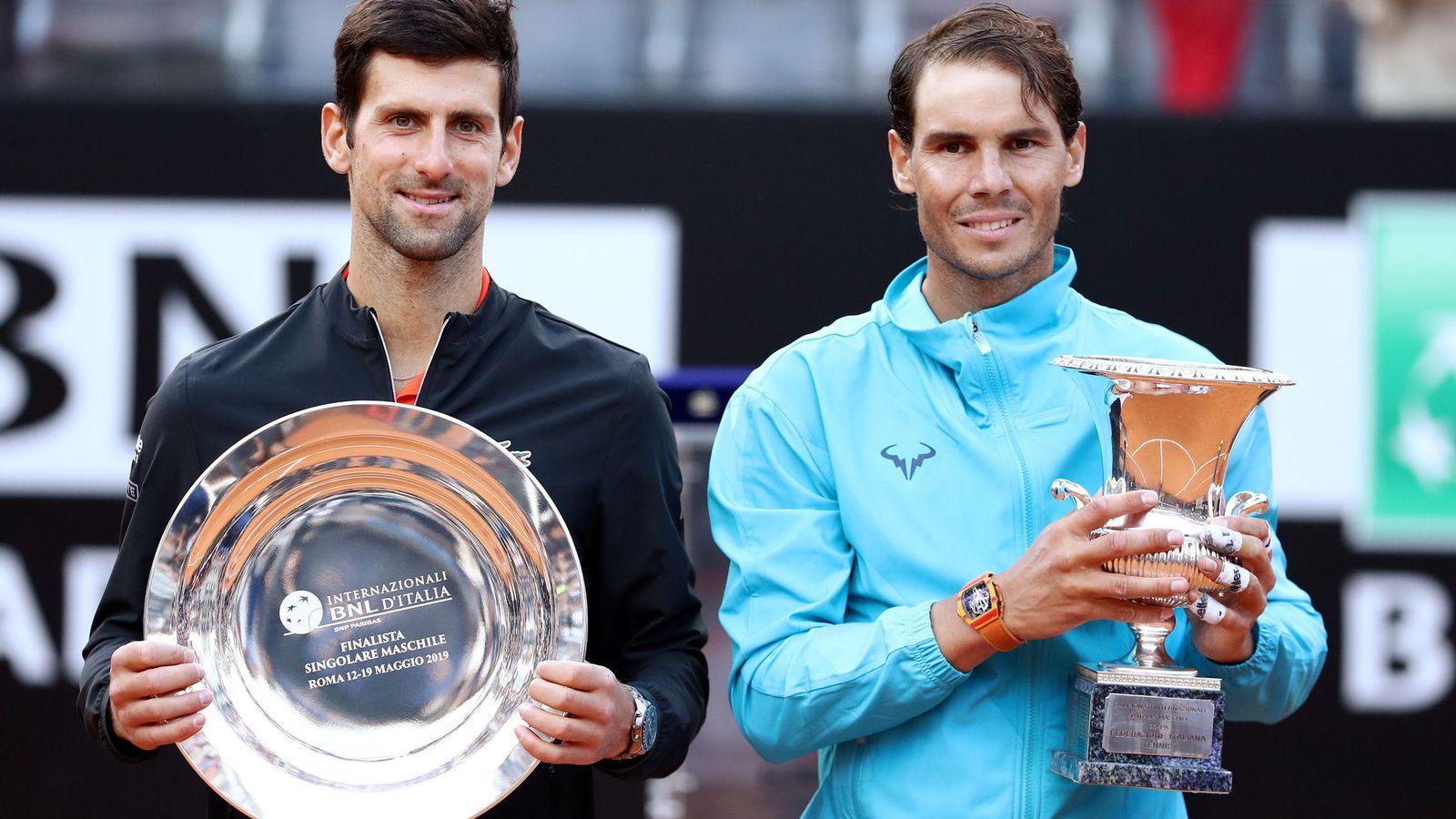 Foto: Djokovic y Nadal en el torneo de Roma de este año. (EFE)