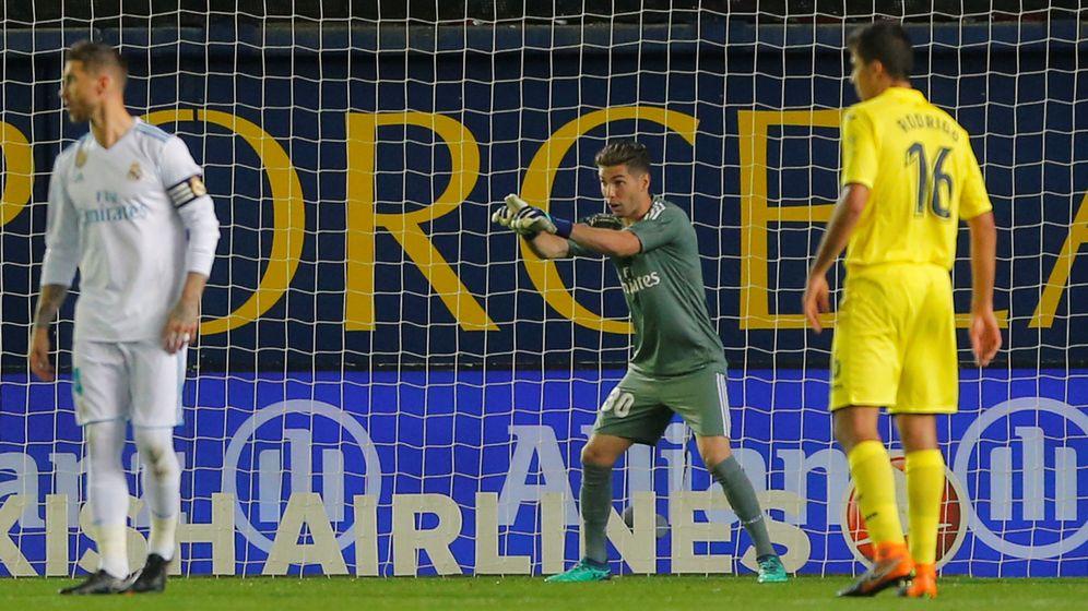 Foto: Luca Zidane durante el partido de Liga que jugó de titular en Villarreal. (Efe)