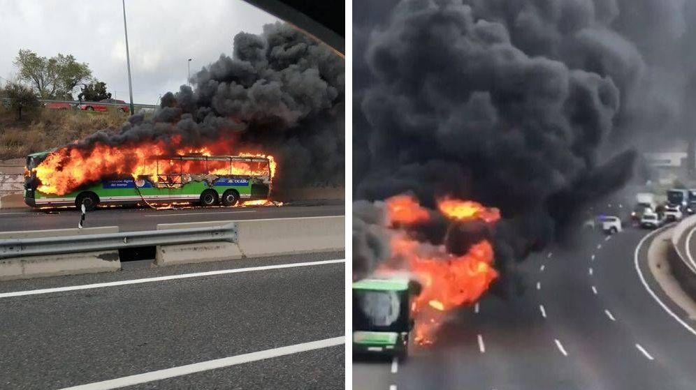 Foto: Imágenes del autobús incendiado en la carretera de A Coruña en Madrid