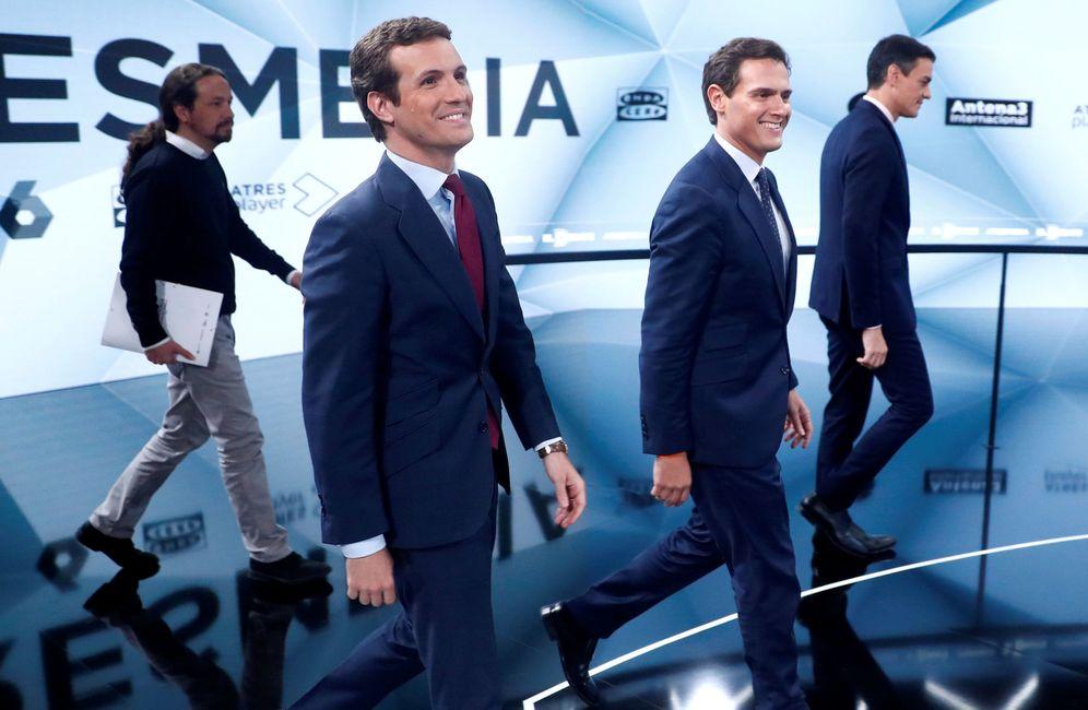 Foto: Pablo Iglesias, Pablo Casado, Albert Rivera y Pedro Sánchez, este 23 de abril en Atresmedia. (Reuters)