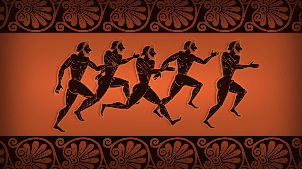Foto: Ilustración en un ánfora griega del siglo V a.C que muestra a corredores en los Juegos de Olympia.