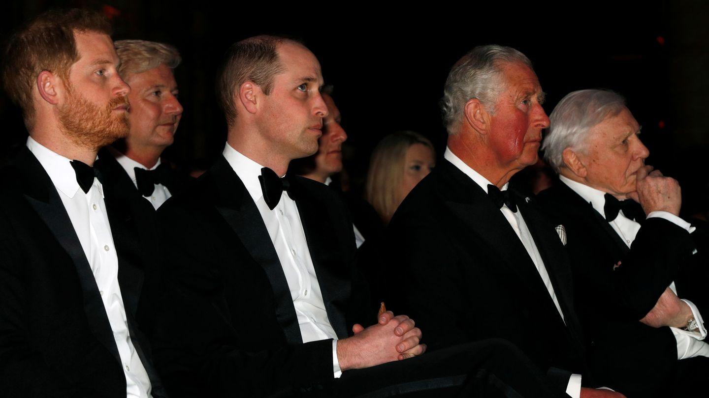 El príncipe Harry, junto a su hermano y su padre. (Reuters)