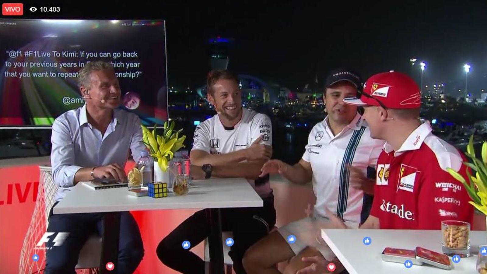 Foto: De derecha a izquierda: Coulthard, Button, Massa y Raikkonen.