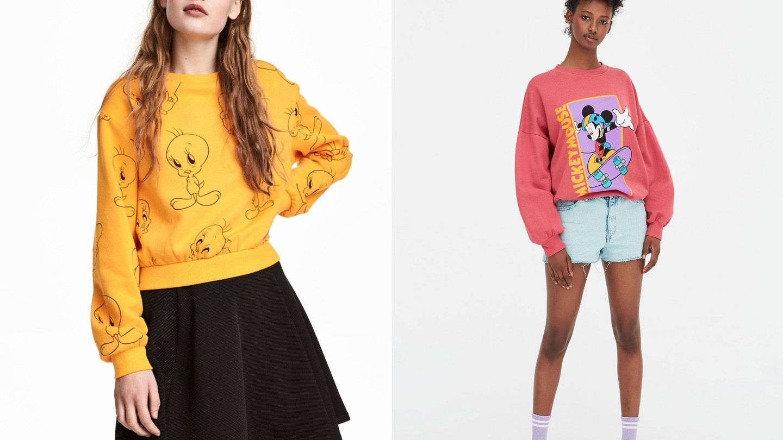 De izq. a dcha.: sudadera amarilla con estampado de Piolín de H&M (19,99 €) y sudadera noventera con Mickey Mouse skater de Pull & Bear (19,99 €).