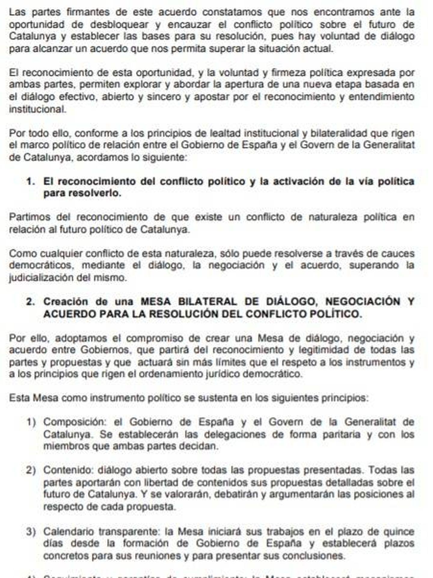 Consulte aquí en PDF el acuerdo entre PSOE y ERC para facilitar la investidura de Pedro Sánchez.
