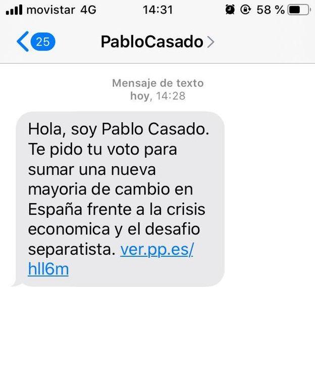 Foto: Captura de pantalla del SMS.