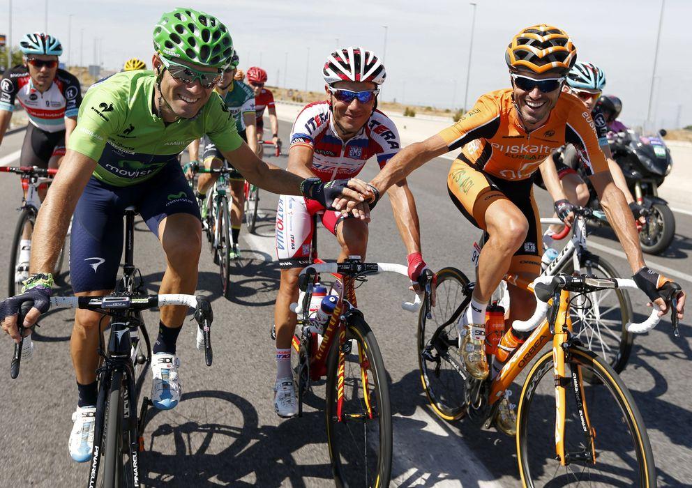 Foto: Valverde, Purito y Sánchez, en la pasada Vuelta Ciclista a España.