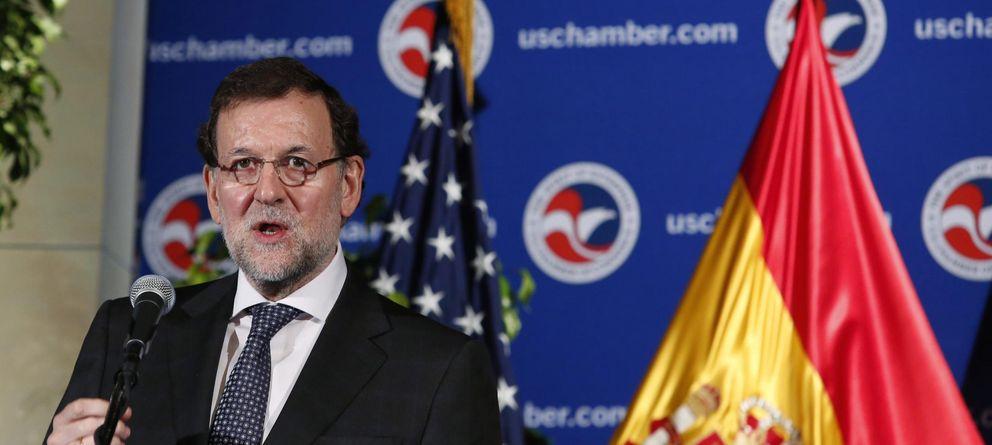 Foto: Mariano Rajoy durante su discurso en la Cámara de Comercio de Washington (Reuters).