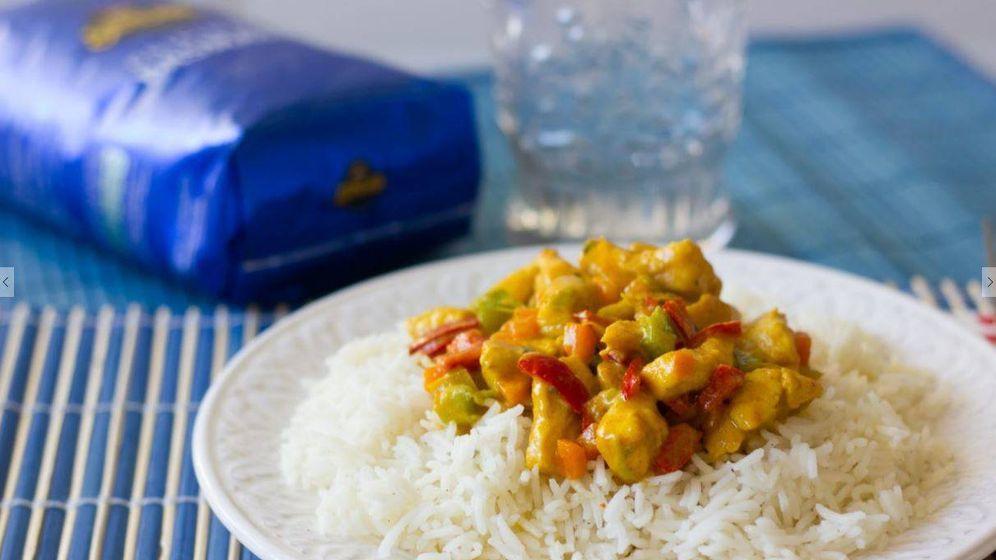 Recetas arroz basmati con pollo al curry oriente en tu - Pollo con almendras facil ...