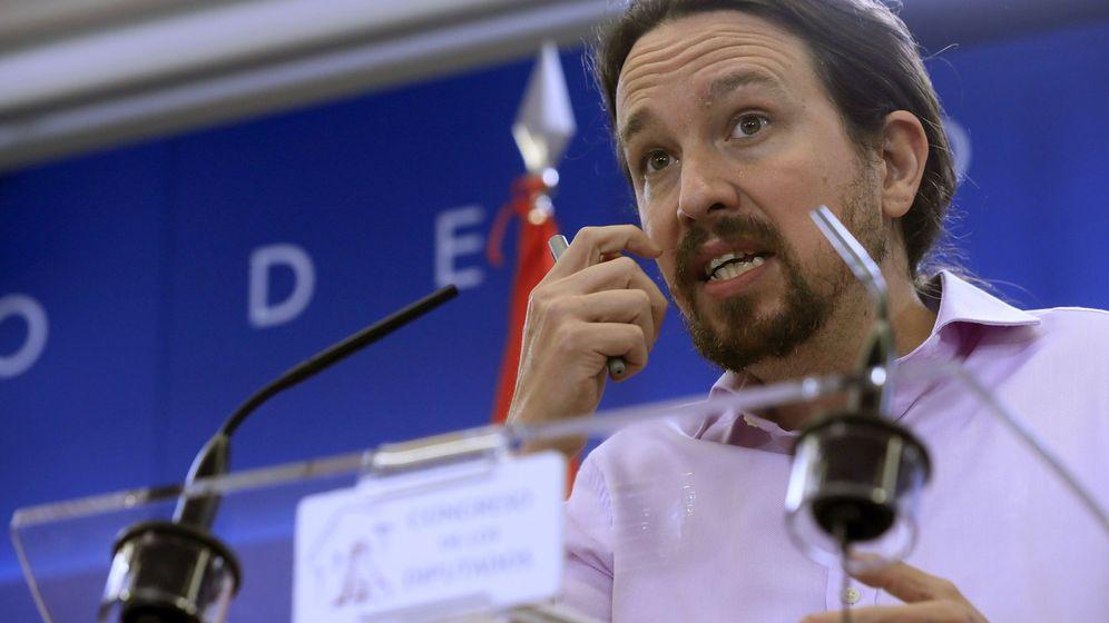 Foto: Pablo Iglesias, líder de Unidas Podemos, durante una rueda de prensa en el Congreso. (EFE)