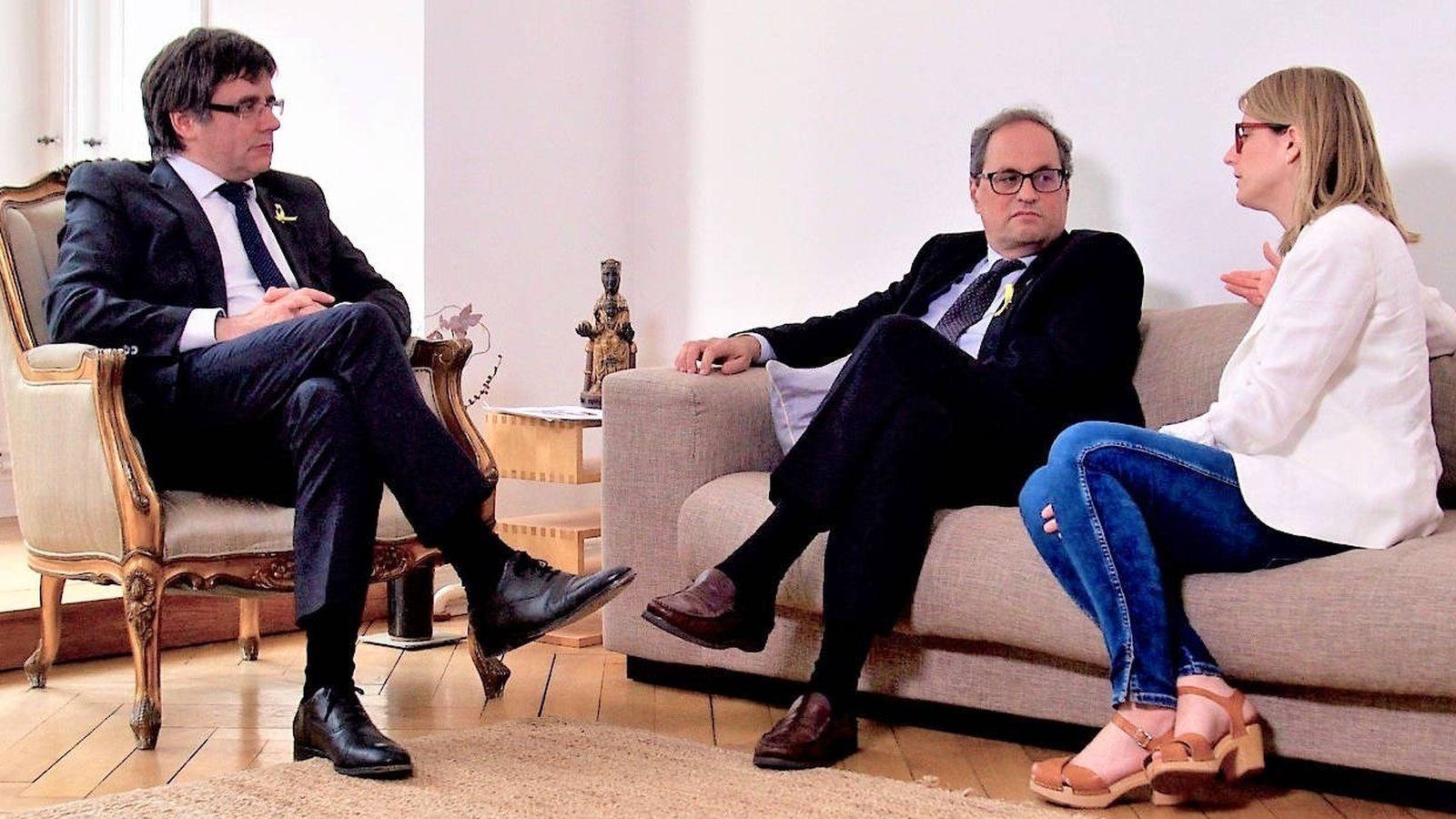Foto: Carles Puigdemont, Quim Torra y Elsa Artadi, este jueves en Berlín. (Europa Press)