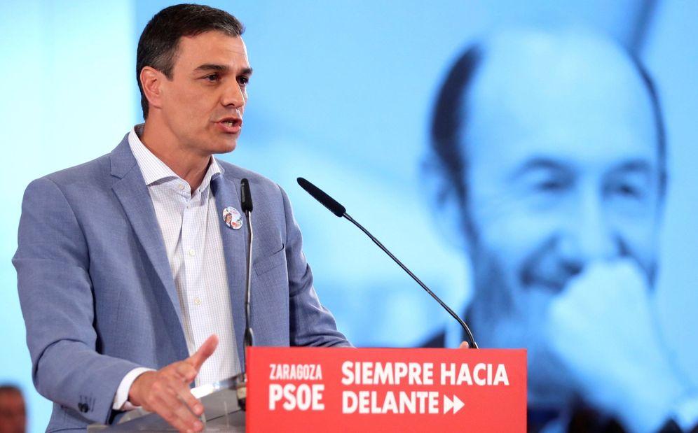 Foto: Pedro Sánchez, durante el mitin ofrecido en Zaragoza. (EFE)