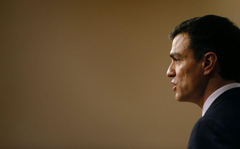 Foto: Pedro Sánchez, durante su rueda de prensa en el Congreso después de que el Rey le propusiera como candidato a la investidura, este 2 de febrero. (EFE)