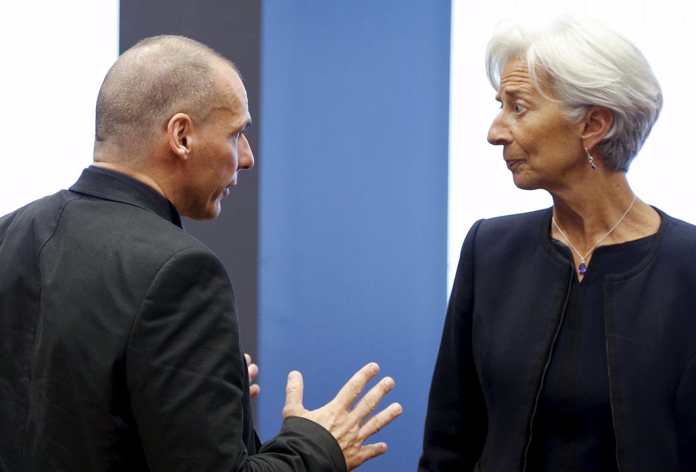 Foto: El ministro griego de Finanzas, Yanis Varufakis, junto a la directora del FMI, Christine Lagarde, durante el Eurogrupo (Reuters).