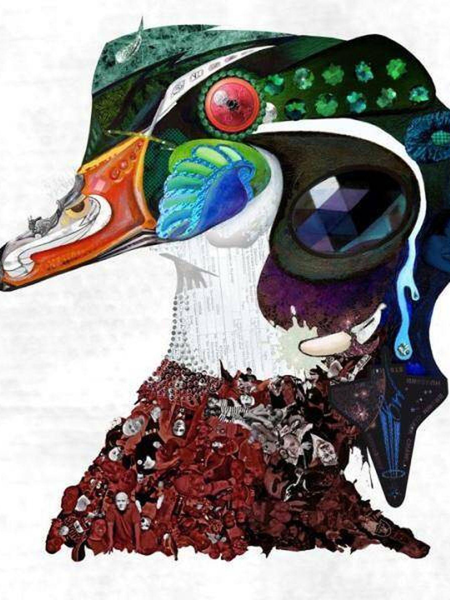 Creación de Rob McBroom, en la que el ojo del pato es un escudo de la URSS, el cuello es el certificado de nacimiento de Obama y el cuerpo del animal está compuesto por fotografías de Tim Taylor