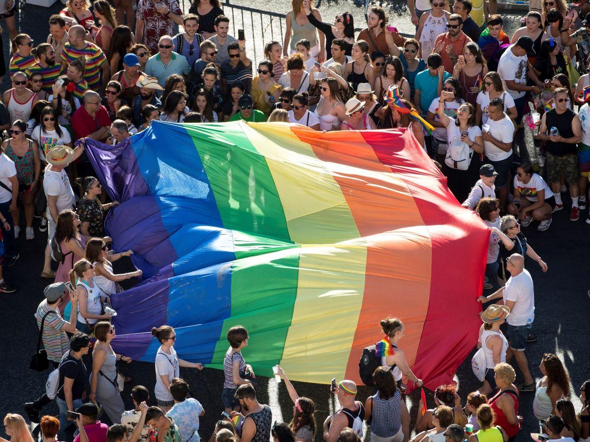 Foto: Vista de una bandera arcoíris en la manifestación del Orgullo 2019 en Madrid. (EFE)