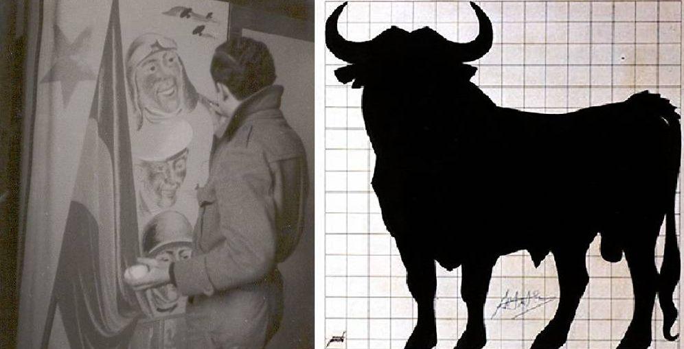 Foto: Manolo Prieto, trabajando en una publicación republicana, y un boceto del Toro de Osborne. (Fundación Manolo Prieto)