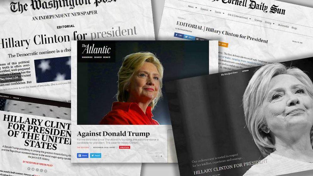 Foto: Algunas de las cabeceras que han mostrado su apoyo oficial a Hillary Clinton (Montaje: C. Castellón)