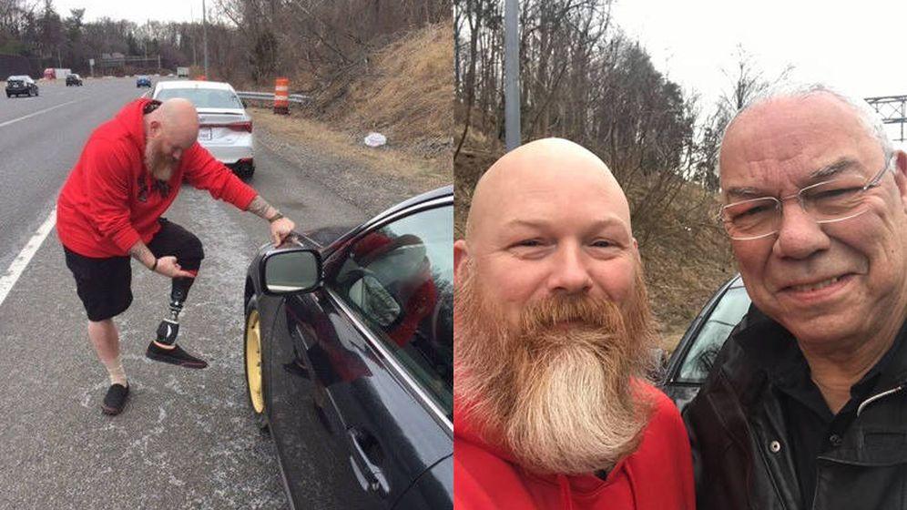 Foto: Colin Powell compartió el selfie que se hizo con Anthony Maggert y la imagen del veterano ayudándole (Foto: Facebook)