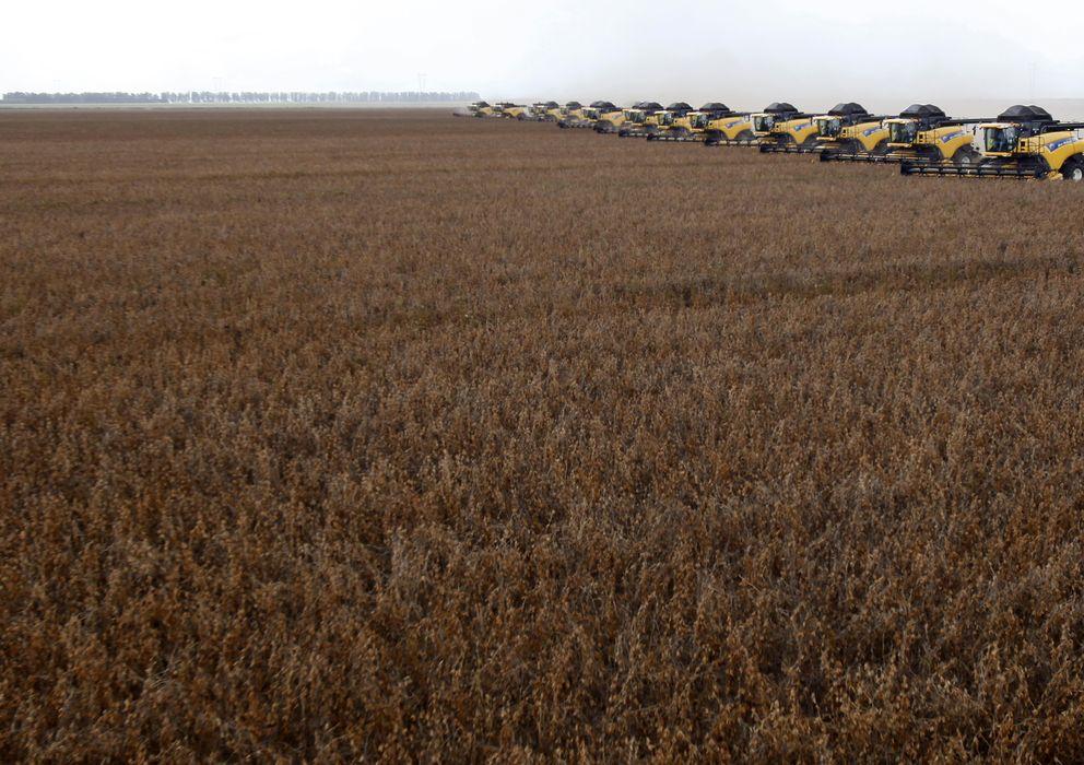 Foto: Varios tractores durante una demostración de su labor en Correntina, Brasil (Reuters).