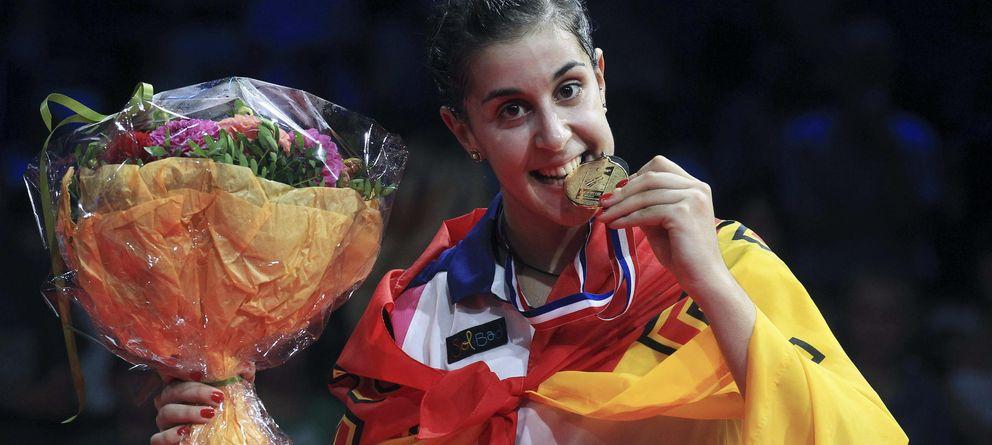 Foto: Carolina Marín, en el podio del Mundial