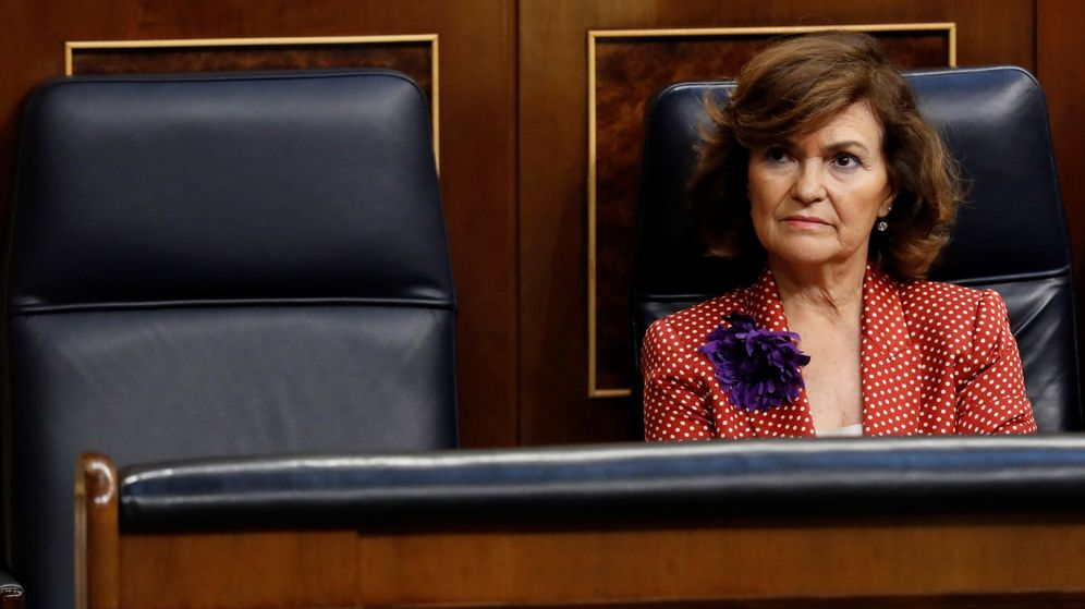 Foto: La vicepresidenta del Gobierno, Carmen Calvo, en el Congreso. (EFE)