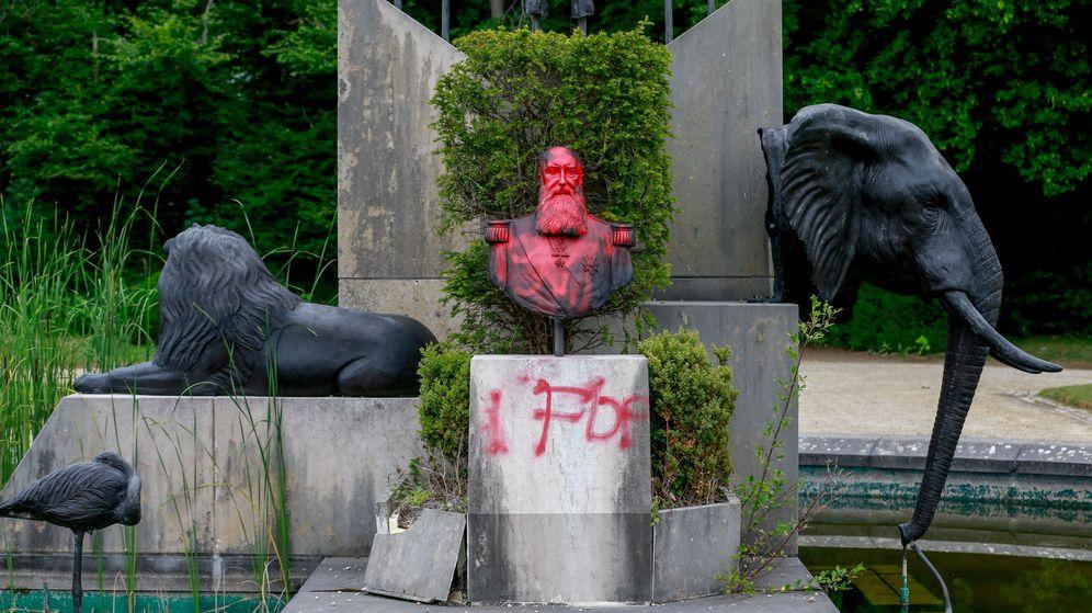 Foto: Una estatua del rey belga Leopoldo II en Tervuren, Bélgica. (EFE)