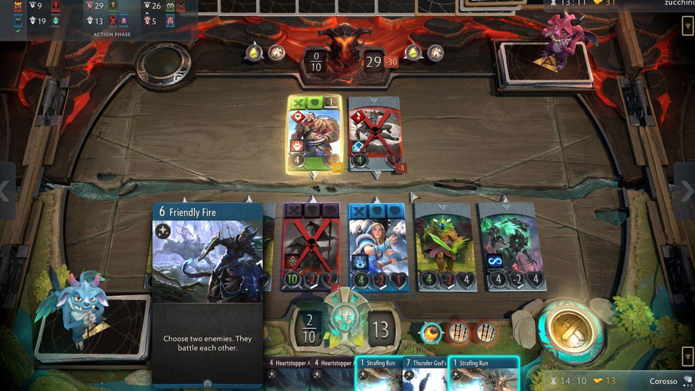 Solo podrás jugar cartas que compartan color con alguno de los héroes de la línea (Artifact)