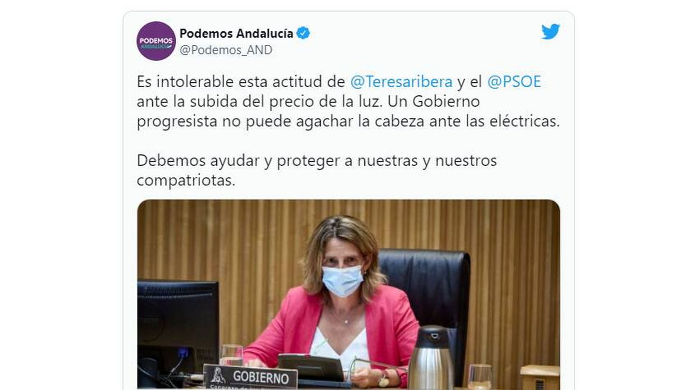 Tuit de Podemos Andalucía