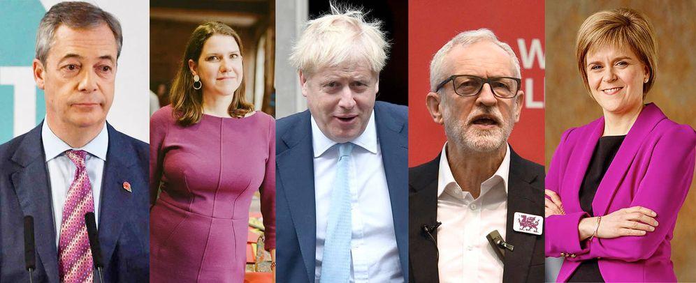 Foto: De izq a der: Nigel Farage, Jo Swinson, Boris Johnson, Jeremy Corbyn y Nicola Sturgeon. (EFE)