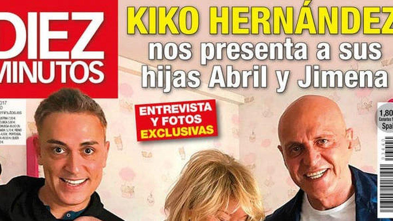 Parte de la portada que Kiko Hernández protagonizó con sus hijas. (Diez Minutos)