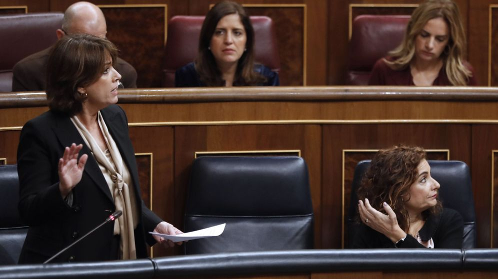 Foto: La ministra de Justicia, Dolores Delgado, durante su intervención en la última sesión de control al Ejecutivo del año. (EFE)